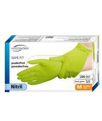 Cimdi Nitrila SAFE FIT, zaļi, S, bez pūdera (200 gab.)