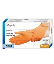 Cimdi Nitrila SAFE FIT, oranži,M,bez pūdera (200 gab.)